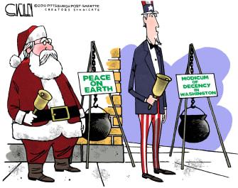 Political Cartoon U.S. Bell Ringers Christmas Peace On Earth Washington