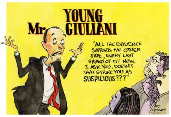 Political Cartoon U.S. Giuliani Trump election