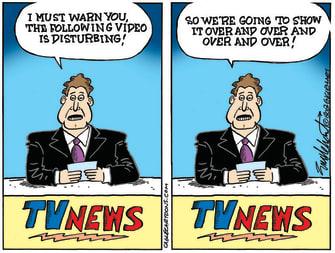 Editorial Cartoon U.S. news media disturbing imagery