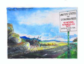 Editorial Cartoon U.S. United States coronavirus surge