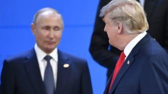 President Trump glances at Russia's Vladimir Putin in Argentina