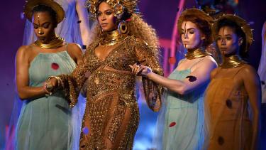 Beyoncé performs at the 2017 Grammy Awards.
