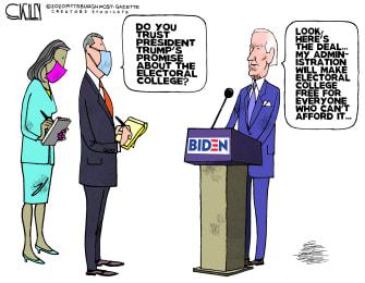 Political Cartoon U.S. Biden Trump electoral college