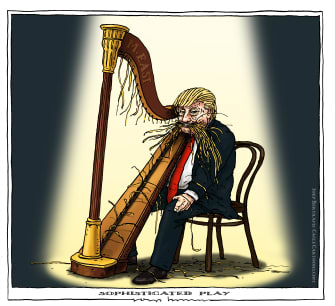 Political Cartoon U.S. Trump Iran harp