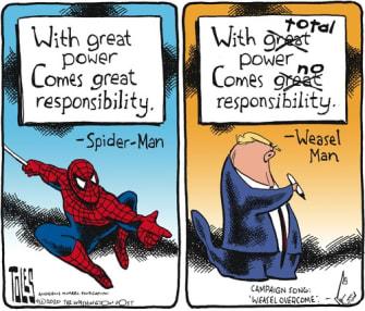 Political Cartoon U.S. Spiderman Uncle Ben great power Trump no responsibility