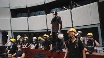 Protesters inside the Legislative Council in Hong Kong.