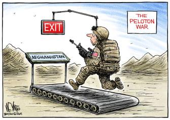 Political Cartoon U.S. Afghanistan War Peloton War