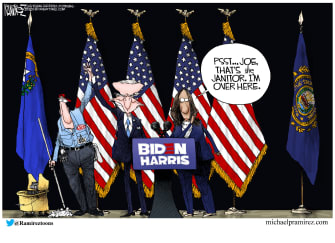 Political Cartoon U.S. Biden Kamala Harris Gaffes Democratic Ticket