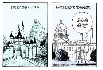 Political Cartoon U.S. Trump Coronavirus Disneyland California shutdown quarantine response