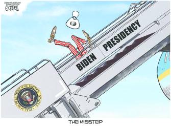 Political Cartoon U.S. biden slip