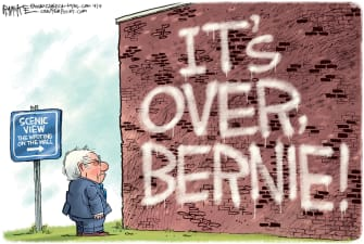 Political Cartoon U.S. Bernie Sanders end campaign