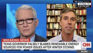 Beto O'Rourke and CNN's Anderson Cooper.