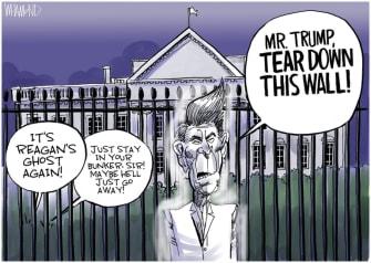 Political Cartoon U.S. Trump bunker George Floyd protests Ronald Reagan