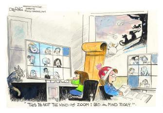 Editorial Cartoon U.S. zoom covid snow day remote learning school