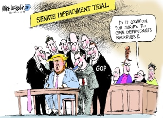 Political Cartoon U.S. Trump Senate Impeachment Trial GOP Backrubs