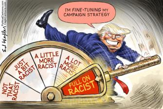 Political Cartoon U.S. Trump racism 2020 campaign
