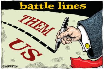 Political Cartoon U.S. Trump us vs them