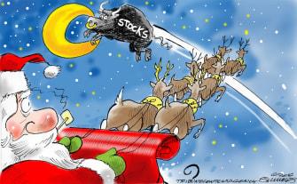 Political Cartoon U.S. Wall Street Bull Santa