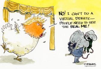 Political Cartoon U.S. Trump Biden virtual debate