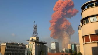 Smoke from the explosion in Beirut.