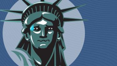Nervous Lady Liberty.