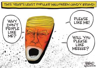 Political Cartoon U.S. Trump Halloween candy corn