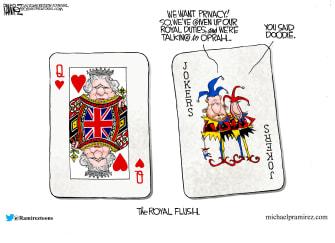 Editorial Cartoon U.S. harry meghan oprah queen elizabeth