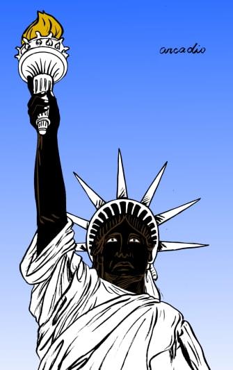 Editorial Cartoon U.S. Statue of Liberty Black Lives Matter