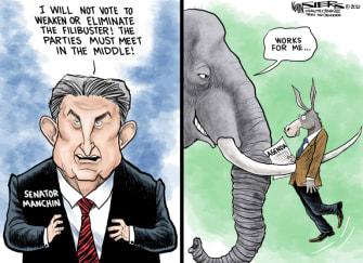 Political Cartoon U.S. joe manchin filibuster gop democrats