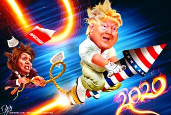 Political Cartoon U.S. Trump 2020 Rocket Pelosi Pulling Impeachment Rope