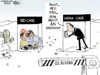 Political Cartoon U.S. mexico border kids in cages media