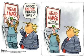 Political Cartoon U.S. Trump administration coronavirus masks