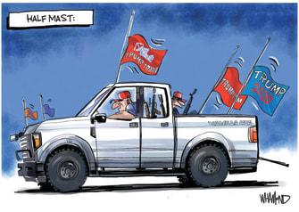 Political Cartoon U.S.Trump Flags Half Mast Election Loss