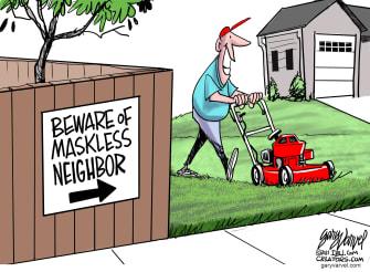 Editorial Cartoon U.S. covid outdoor mask