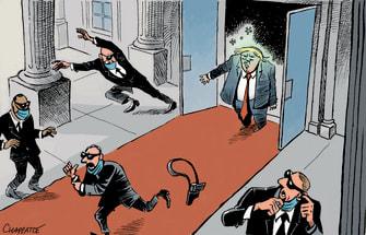 Political Cartoon U.S. Trump COVID Secret Service