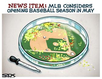 Editorial Cartoon U.S. MLB considers reopening in May mistake virus season