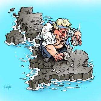 Political Cartoon World Boris Johnson UK Brexit stoneage island isolation