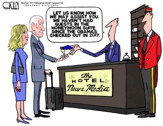 Political Cartoon U.S. biden media