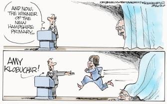 Political Cartoon U.S. New Hampshire winner Klobuchar Sanders