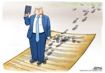 Political Cartoon U.S. Trump Bible photo op Constitution