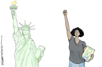 Editorial Cartoon U.S. statue of liberty George Floyd Minneapolis protests