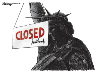 Political Cartoon U.S. Trump America travel bans quarantine ports closed