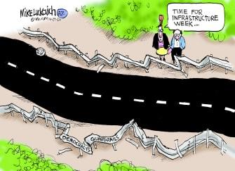 Political Cartoon U.S. Trump democracy infrastructure week