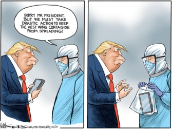 Political Cartoon U.S. Trump phone twitter contagion
