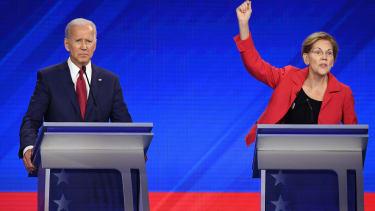 Biden and Warren at the debate