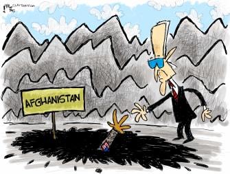 Political Cartoon U.S. biden afghanistan withdrawal quagmire