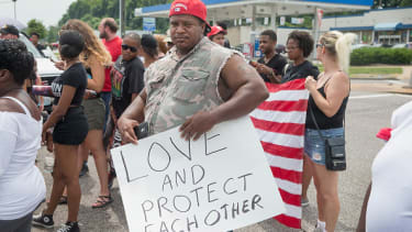 A participant in the Michael Brown march.