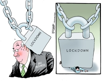 Editorial Cartoon U.S. PPP big small business lockdown bailout