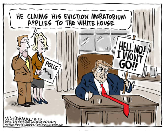 Political Cartoon U.S. President Trump Accepting Election Results 2020 Polling