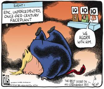 Political Cartoon U.S. Trump Coronavirus COVID-19 response testing faceplant